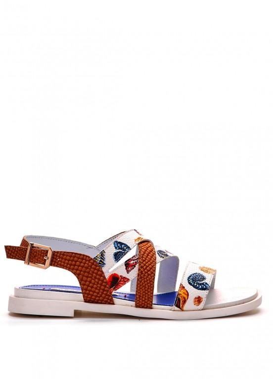 786011 Кожаные сандалии с принтом