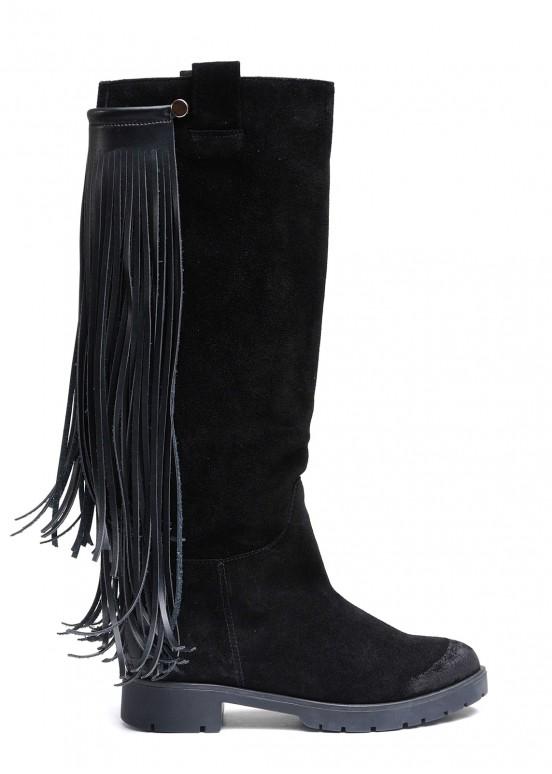052301 Замшевые черные сапоги