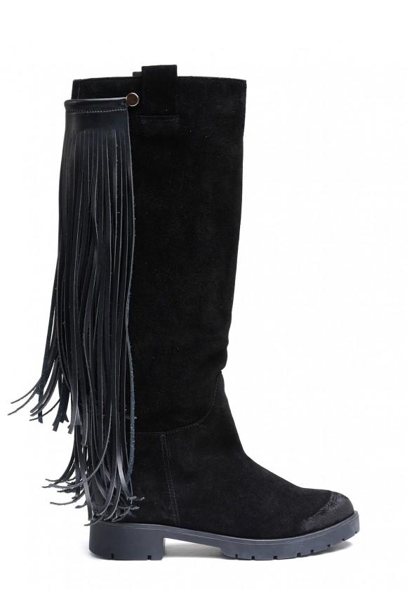 Замшевые черные сапоги