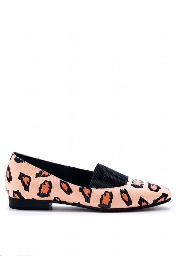 Шкіряні туфлі з леопардовим принтом