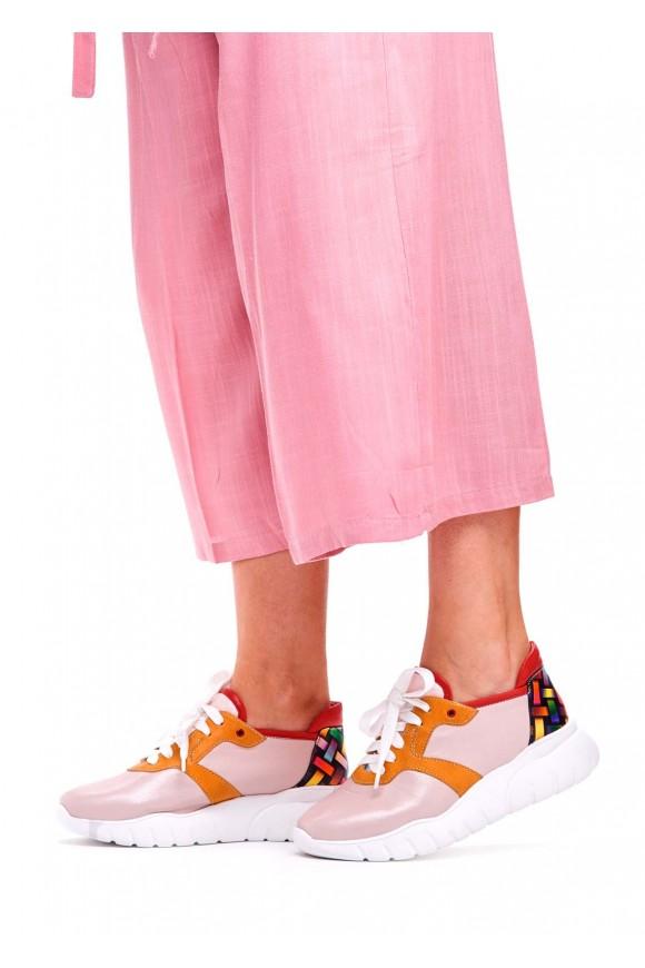 Рожеві Шкіряні Кросівки