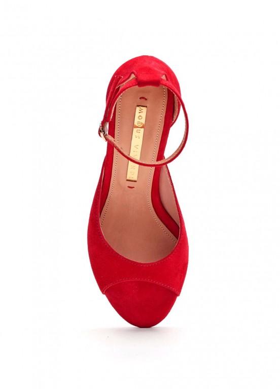 934801 Красные замшевые босоножки