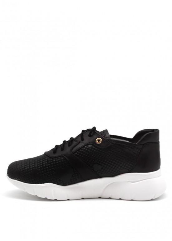 563357 Черные кожаные кроссовки