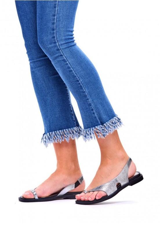 786202 Серебряные кожаные сандалии