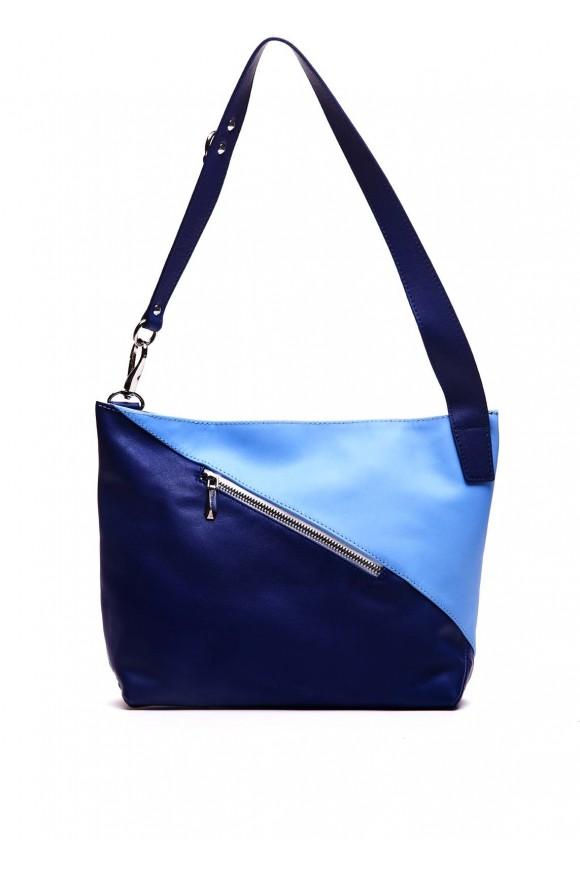 Синя шкіряна сумка
