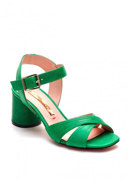 297101 Зеленые кожаные босоножки