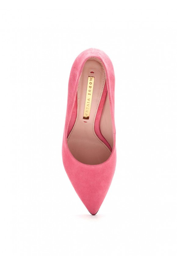 Розовые Замшевые Туфли на Каблуке