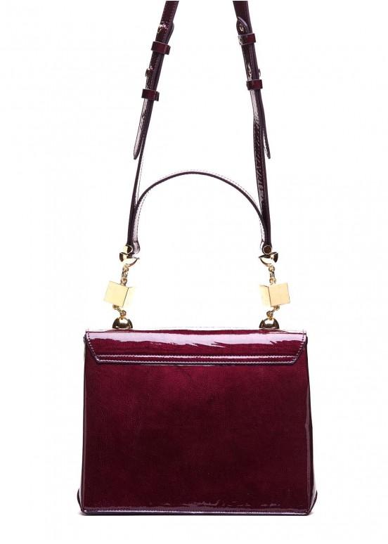 96602 Лаковая сумка вишневого цвета