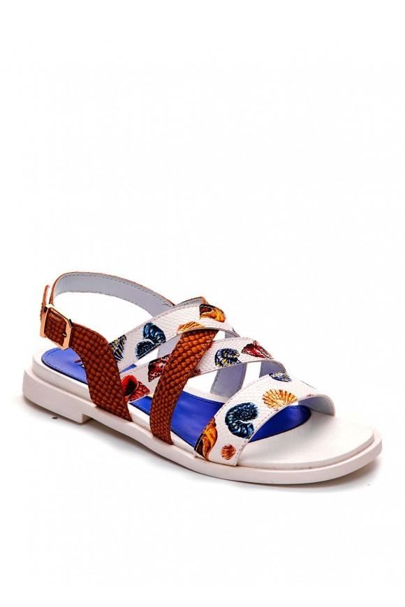 Кожаные сандалии с принтом