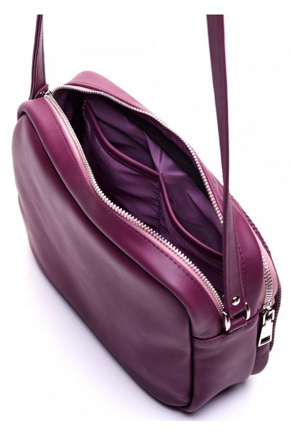 Лілова шкіряна сумка