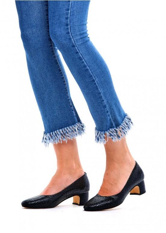 960332 Черные кожаные туфли