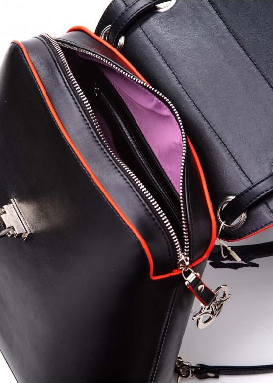 90403 Кожаный черный рюкзак