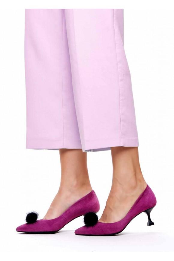 Туфли на невысоком каблуке со съемным мехом