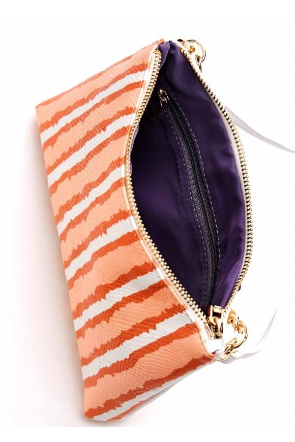 Кожаная сумка с полосатым принтом
