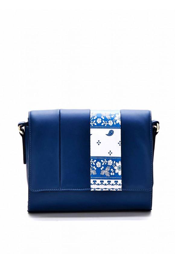 Шкіряна синя сумка