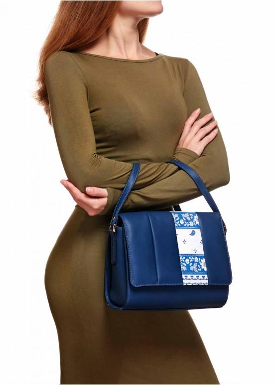 86101 Кожаная синяя сумка