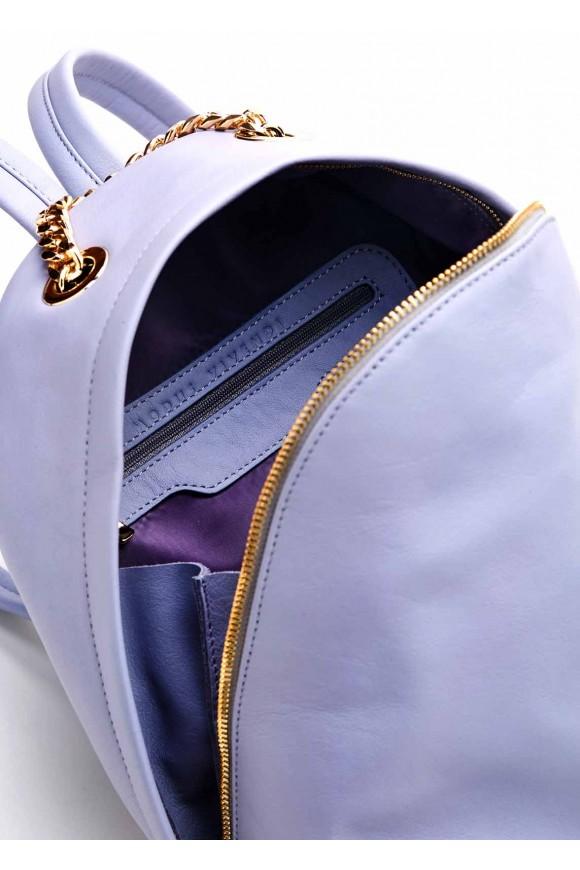 Голубой кожаный рюкзак