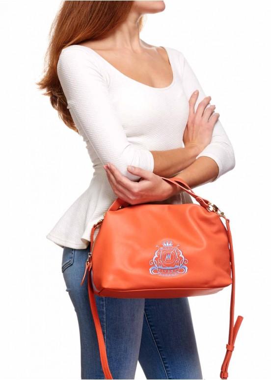 87202 Кожаная сумка с вышивкой