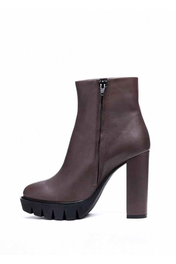144402 Кожаные серые ботинки